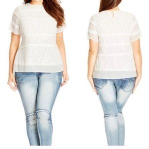 City Chic White Pintuck Lace Top  22